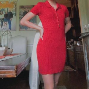 red dress with silver buttons